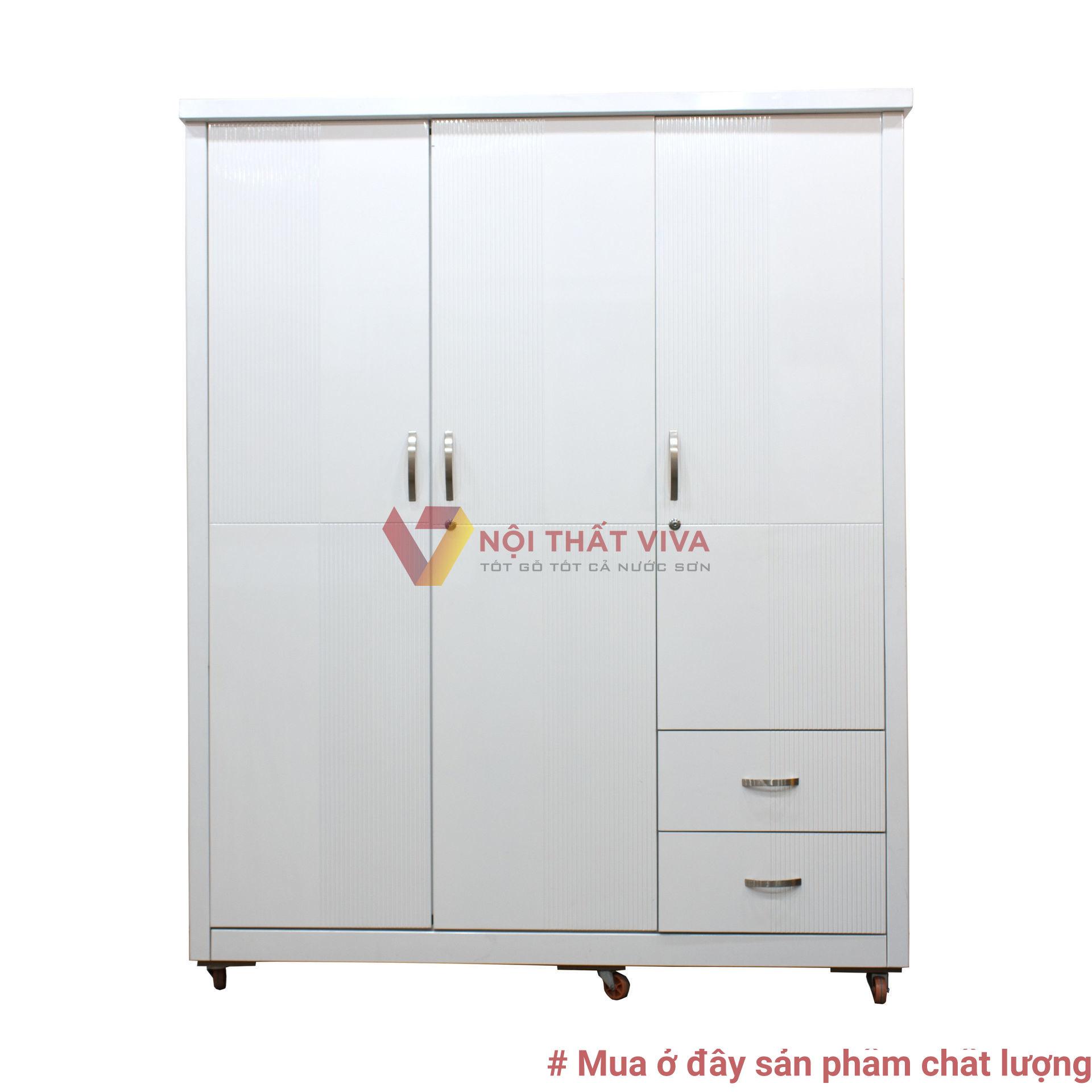 Tủ Áo 4 Cánh Gỗ MDF Melamine Vân Lim