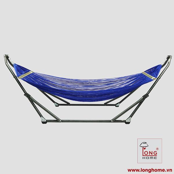 Bộ Khung Võng Xếp Thái Sơn - Relax (Sắt, sơn tĩnh điện) + Võng lưới 2 lớp loại A, cán thép dài 50 cm
