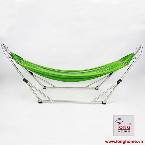 Bộ khung võng Xếp Thái Sơn ống tròn - đầu cong relax (Chất liệu inox) + võng lưới