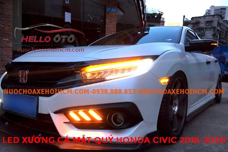 Đèn Led Sương Mù Phía Trước Kiểu Xương Cá Mắt Quỷ Honda Civic 2018-2020