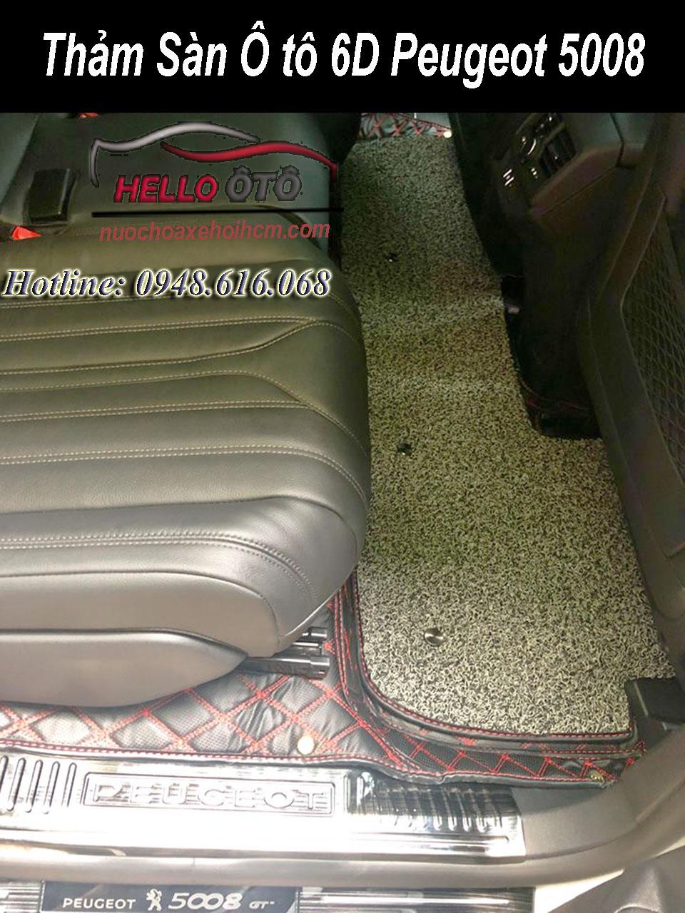 Thảm lót sàn ô tô 6D Peugeot 5008 Da Cacbon
