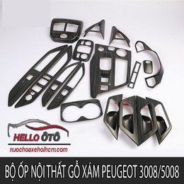 Bộ Ốp Nội Thất Gỗ Xám Peugeot 3008 5008 17 Chi Tiết