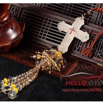 Dây Treo ô tô Thánh Giá Chúa Giêsu Bạch Ngọc Phong Thủy 001