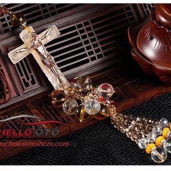 Dây Treo ô tô Thánh Giá Chúa Giêsu Bạch Ngọc Phong Thủy 002