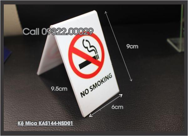 Biển no smoking bằng chất liệu mica, inox