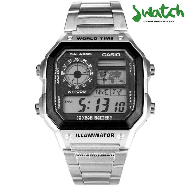 ĐỒNG HỒ CASIO WORLD TIME AE-1200WHD-1AVDF DÂY KIM LOẠI