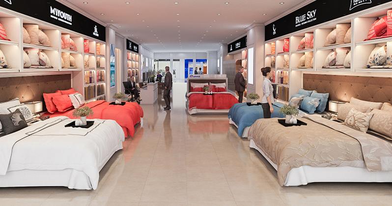 Thiết kế nội thất showroom đệm Hanvico thành phố Hải Phòng