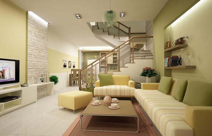 Thiết kế thi công nội thất phòng khách Quang Tiến