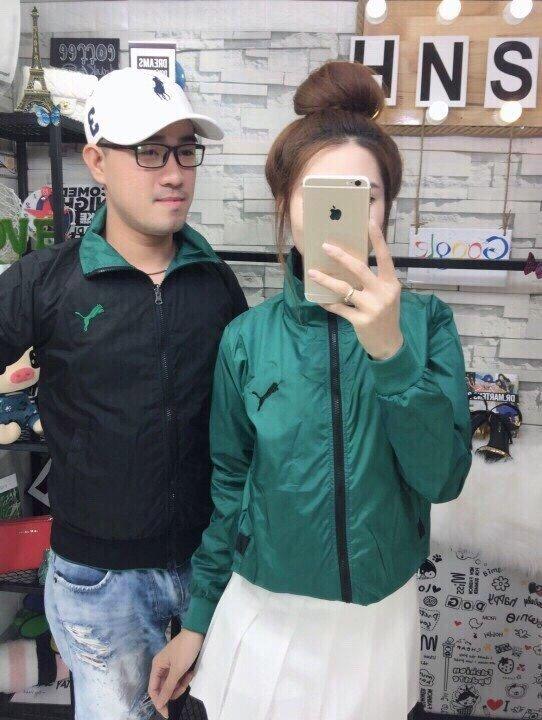 Áo khoác dù puma xanh lá