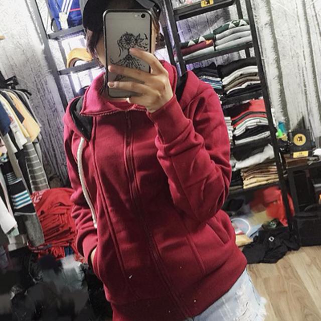 áo khoác nỉ mũ rộng màu đô