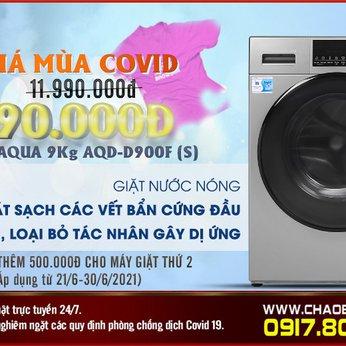 Máy giặt Aqua Inverter 9 kg AQD-D900F S - TRỢ GIÁ MÙA COVID