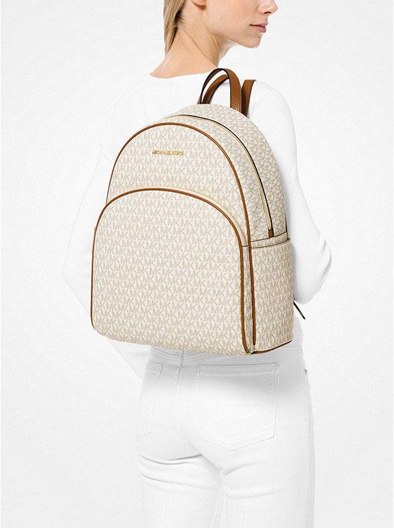 Balo Michael Kors hàng hiệu  size lớn Abbey Large Logo Backpack,  balo Michael Kors hàng hiệu size lớn, balo MK chính hãng unisex, balo MK chính hãng hàng hiệu màu trắng, balo MK du lịch, balo Michael Kors công sở đựng vừa laptop