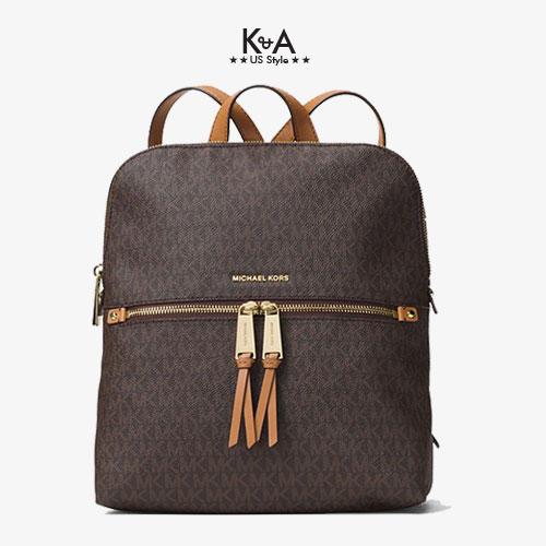 Balo hàng hiệu Michael Kors 30H6GEZB2V-RHEA ZIP MD BACKPACK - medium - brown logo