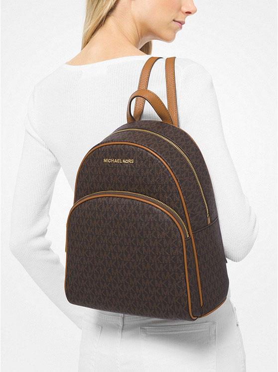 Ba lô Michael Kors nữ size trung màu nâu Abbey Medium Backpack Brown Logo