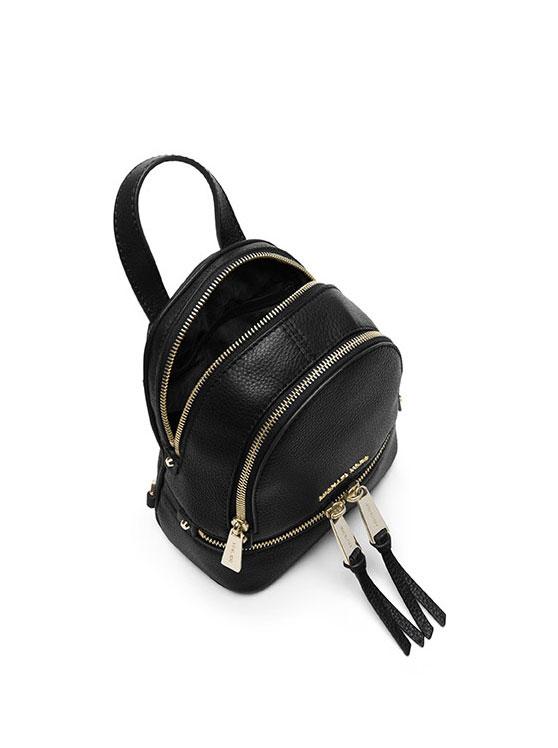 Ba lô mini nữ Michael Kors Rhea Mini Black Leather Backpack