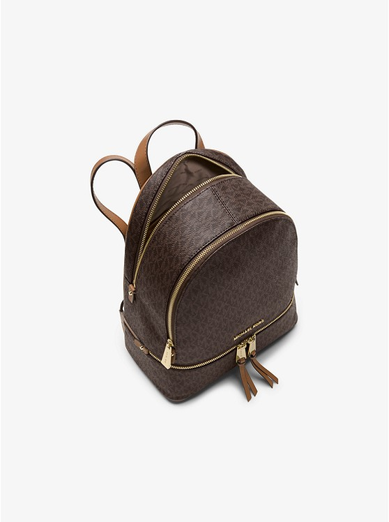 Balo hàng hiệu Michael Kors Rhea Zip Backpack Brown Logo