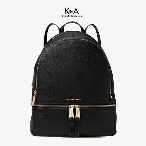 Balo hàng hiệu Michael Kors Rhea Zip Large Leather Black Backpack