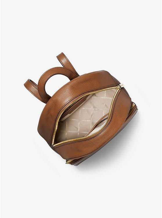 Ba lô michael kors nữ size trung màu nâu 30S0GAYB6L - Abbey Medium Pebbled Leather Backpack - Luggage