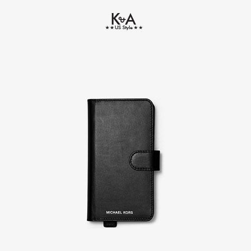 Case Iphone  Michael Kors mẫu mới năm 2021 ELECTRONIC NOVELTY FOLIO HAND STRAP XS MAX LEATHER- BLACK
