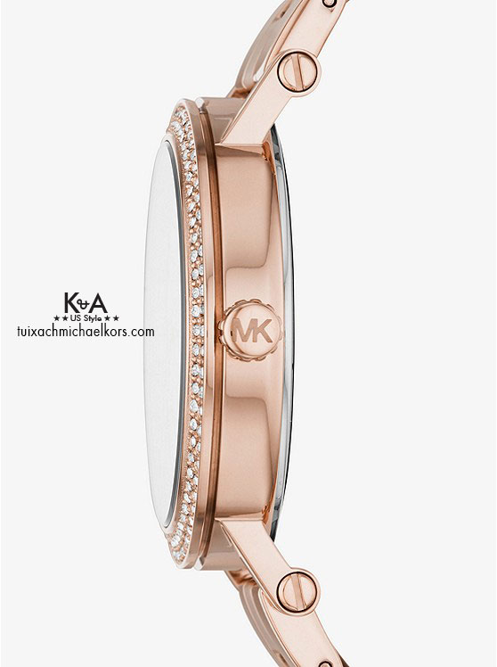 Đồng hồ Michael Kors nữ loại to Norie Pave Rose Gold Tone Watch