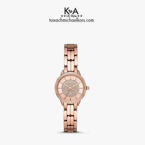 Đồng hồ Michael Kors nữ xách tay Mỹ Mini Alie Rose Tone Watch