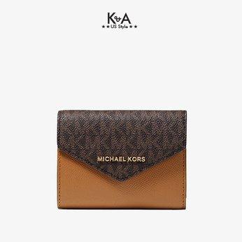 Ví cầm tay mini Michael Kors hàng hiệu 32H9GJ6E6B-Medium Logo and Leather Envelope Wallet vi MK cam tay hang hieu danh cho nu