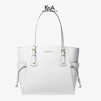 Túi xách Michael Kors hàng hiệu cao cấp Voyager Small Crossgrain Leather Tote Bag,  túi xách michael kors hàng hiệu nữ dạo phố, túi xách MK giành cho nữ công sở, giỏ xách MK đeo vai hàng hiệu chính hãng màu trắng