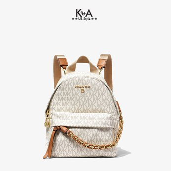 Balo Michael Kors hàng hiệu mini 30T0G04B0B-Slater Extra-Small Logo Convertible Backpack- VanillaArcon, baloMK mini hang hieu mau trang logo, balo michael kors chinh hang deo cheo, balo MK hang hieu mau trang danh cho nu, balo Michael Kors chinh hang