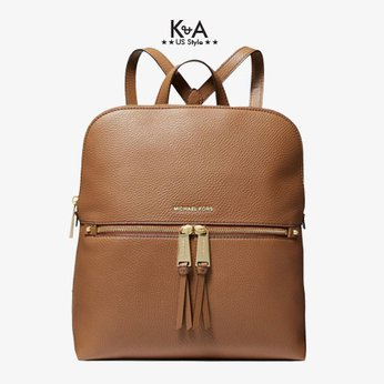 Balo hàng hiệu Michael Kors 30F0GEZB6V- RHEZA ZIP MD SLIM BACKPACK- LUGGAGE, balo MK hang hieu chinh hang mau nau, balo MK hang hieu du lich, balo MK authentic mau nau danh cho nu, balo michael kors hang hieu size trung mau nau