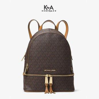 Balo hàng hiệu Michael Kors Rhea Zip Backpack Brown Logo, balo MK hàng hiệu chính hãng màu nâu, balo MK hàng hiệu du lịch, balo MK authentic màu nâu giành cho nữ, balo michael kors hàng hiệu size trung màu nâu, balo michael kors chính hãng công sở