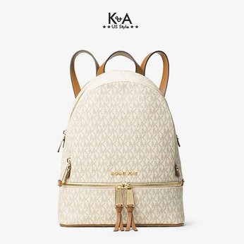 Balo Michael Kors hàng hiệu  Rhea Zip Backpack Vanilla Logo, balo MK hàng hiệu chính hãng giành cho nữ, balo MK authentic màu trắng, balo michael kors size trung , balo michael kors chính hãng authentic, balo MK chính hãng màu trắng giành cho nữ