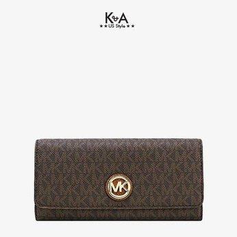 Bóp cầm tay hàng hiệu Michael Kors Fluton Flap Continential Wallet, ví MK cầm tay hàng hiệu giành cho nữ, ví MK chính hãng màu nâu, Ví MK hàng hiệu size lớn, bóp Michael Kors giành cho nữ màu nâu, bóp MK hàng hiệu authentic giành cho nữ