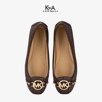 Giày búp bê Michael Kors nữ  màu nâu logo 49T8FUFR1BFULTON MOC PYRAMICMK SIG MD BROWN