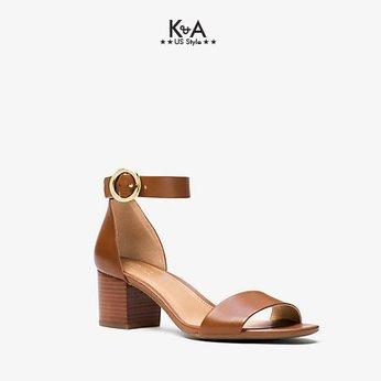 Giày sandal Michael Kors nữ cao gót Lena Flex Mid Leather Luggage