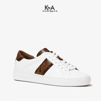 Giay sneaker Michael Kors Authentic usa 43F0IRFP5L-Irving Python Embossed Stripe Leather Sneaker - WHITELUGGAGE.
