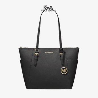 Túi xách Michael Kors hàng hiệu đeo vai  35T0GCFT7L - Charlotte Large Saffiano Leather Top-Zip Tote Bag - Black