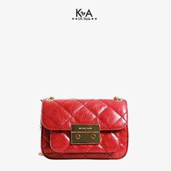 Túi xách Michael Kors hàng hiệu đeo chéo Sloan Small Quilted Shoulder Flap Leather Chili Bag, túi xách MK hàng hiệu đeo chéo minisize, túi xách MK hàng hiệu chính hãng dự tiệc, túi xách MK hàng hiệu màu đỏ, túi xách MK chính hãng authentic giành cho nữ