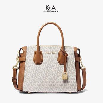 Túi xách Michael Kors authentic Usa cho nữ Mercer Belted Small Satchel Leather Vanilla Bag,  túi xách Michael Kors cao cấp đeo chéo, túi xách MK chính hãng đeo chéo màu trắng logo dạo phố, giỏ xách MK chính hãng công sở, giỏ xách MK hàng hiệu