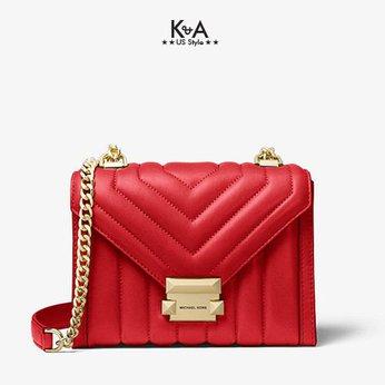 Túi xách Michael Kors mini màu đỏ 30F8GXIL1T Whitney Mini Quilted Shoulder Bag, túi xách dự tiệc, túi xách hàng hiệu nữ, túi xách hiệu MK chính hãng