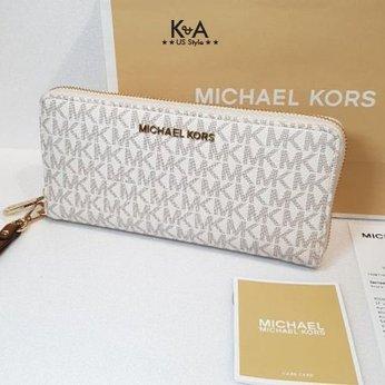Ví cầm tay Michael Kors hàng hiệu Jet Set Travel Continental Vanilla Leather Wallet, ví michael kors cầm tay hàng hiệu giành cho nữ, ví michael kors size lớn màu trắng, bóp michael kors cầm tay hàng hiệu chính hãng, bóp MK authentic màu trắng