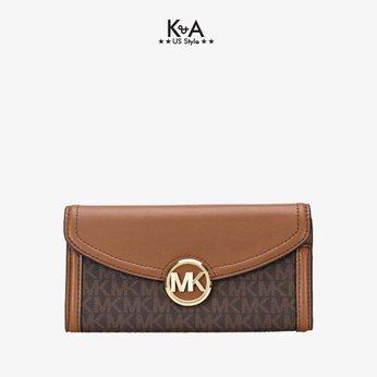 Ví cầm tay Michael Kors hàng hiệu Fulton Flap Continental Leather Wallet, ví MK cầm tay hàng hiệu giành cho nữ, ví MK chính hãng màu nâu, Ví MK hàng hiệu size lớn, bóp Michael Kors giành cho nữ màu nâu, bóp MK hàng hiệu authentic giành cho nữ