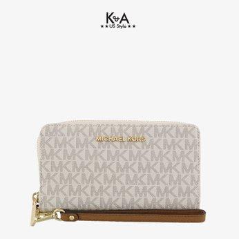 Ví Michael Kors size trung 18cm vanilla 35F8GTVW9B Jet Set Travel Medium Vanilla, ví cầm tay MK chính hãng, bóp cầm tay Michael Kors nữ USA