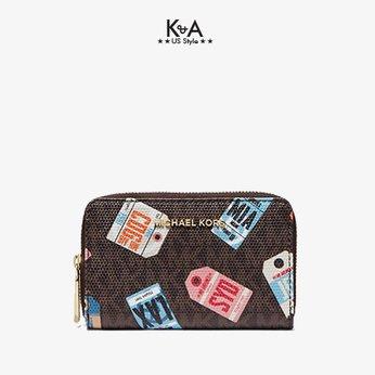 Ví cầm tay mini Michael Kors hàng hiệu 32T0GJD0O-JET SET-SM ZA CARD CASE-BROWN MULTI