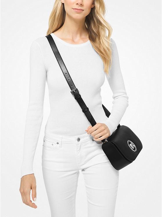 Túi xách Michael Kors đeo chéo 30T0S1MM1L - Samira Small Pebbled Leather Messenger Bag - Black