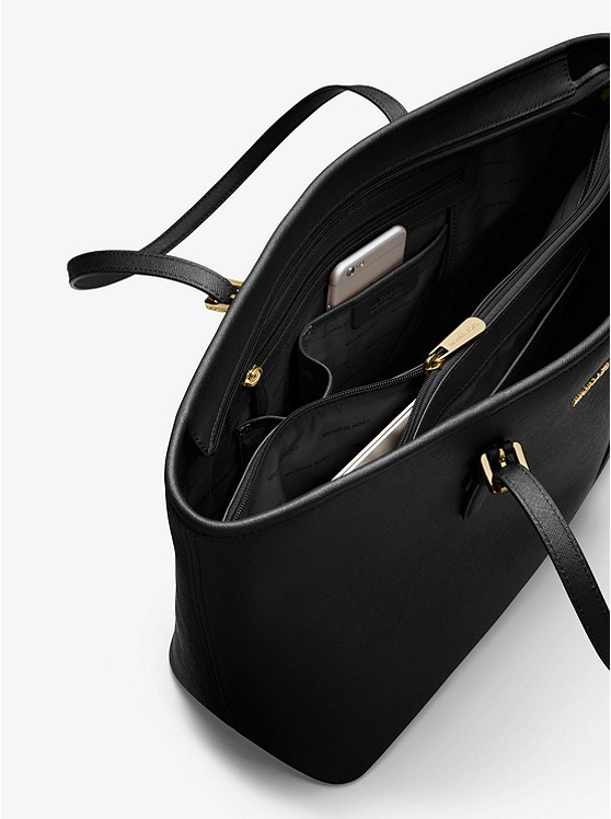 Túi xách Micheal Kors hàng hiệu đeo vai loại lớn Jet Set Travel Tz Multi Funt Tote Black Bag, túi michael kors hàng hiệu đeo vai loại lớn, túi MK xách tay loại lớn công sở, túi xách MK đeo vai du lịch, túi xách Michael Kors chính hãng hàng hiệu màu đen