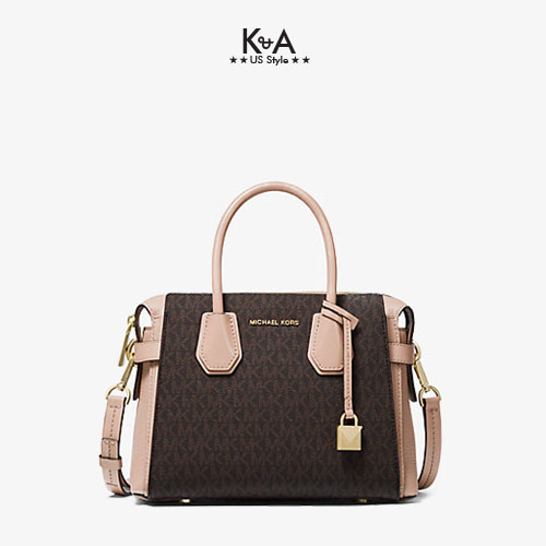 Túi xách Michael Kors hàng hiệu cao cấp Mercer Belted Small Satchel Leather Brown Soft Pink Bag