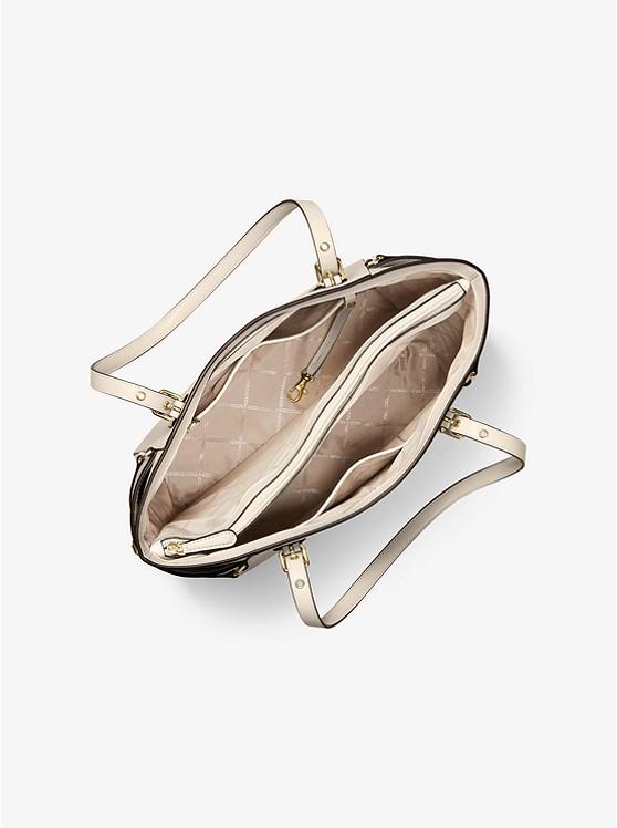 Túi xách Michael Kors hàng hiệu cao cấp Voyager Light Sand Small Crossgrain Leather Tote Bag