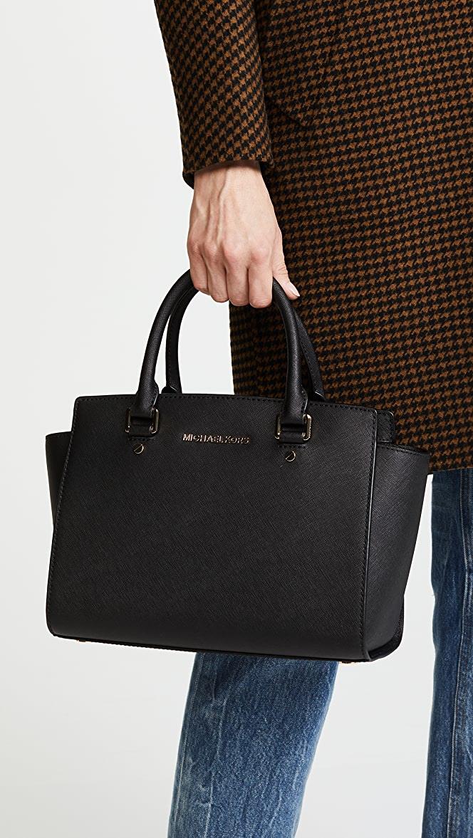 Túi xách Micheal Kors hàng hiệu Selma Medium Tz Satchel Leather Black
