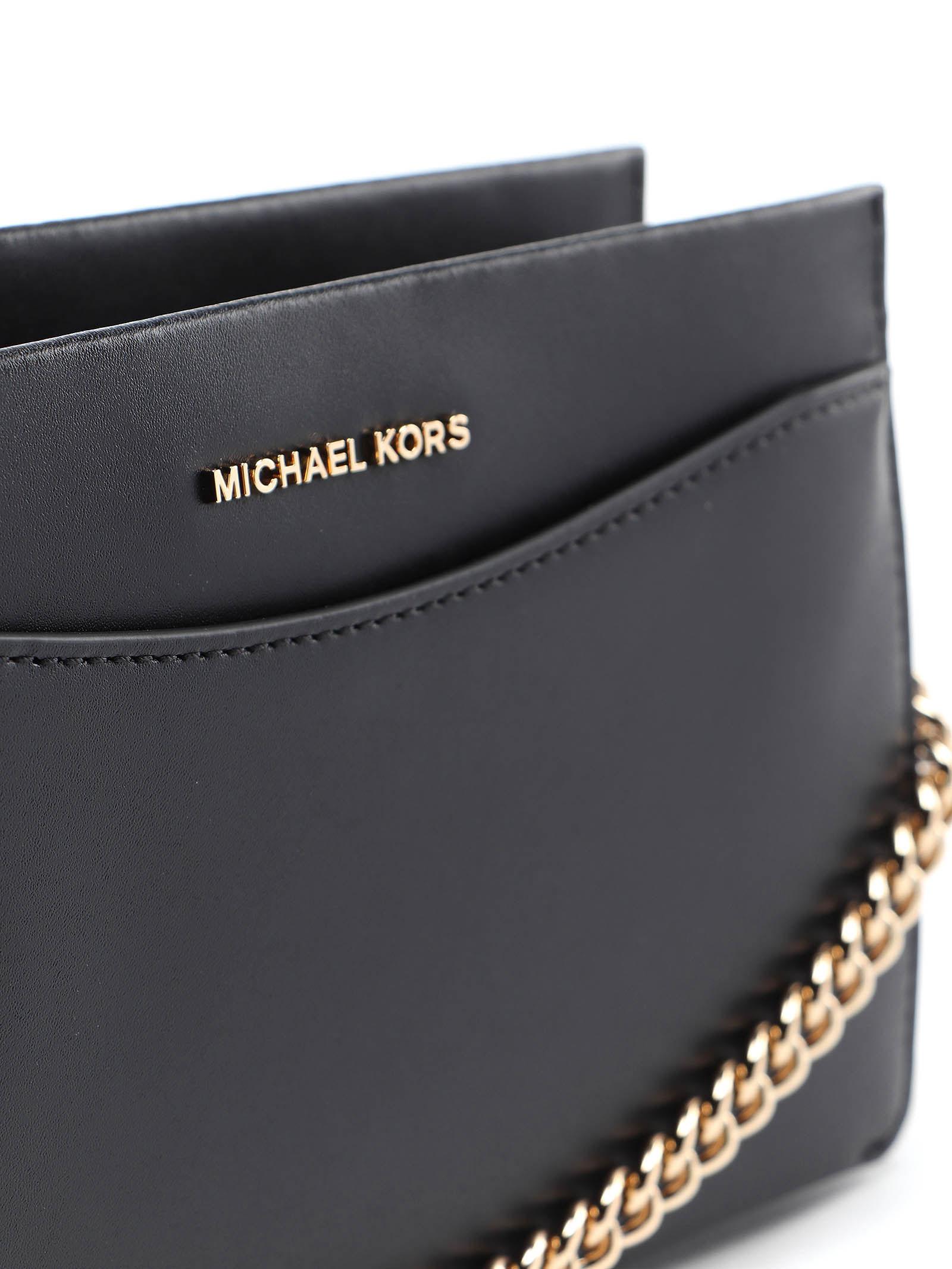 Túi xách Michael Kors mẫu mới nhất 2021 màu đen cho nữ-32F9GJ6C3L JET SET LG CONV CHAIN CROSSBODY LEATHER BLACK, giỏ xách mk size trung màu đen, , giỏ  xách michael kors sự tiệc màu đen