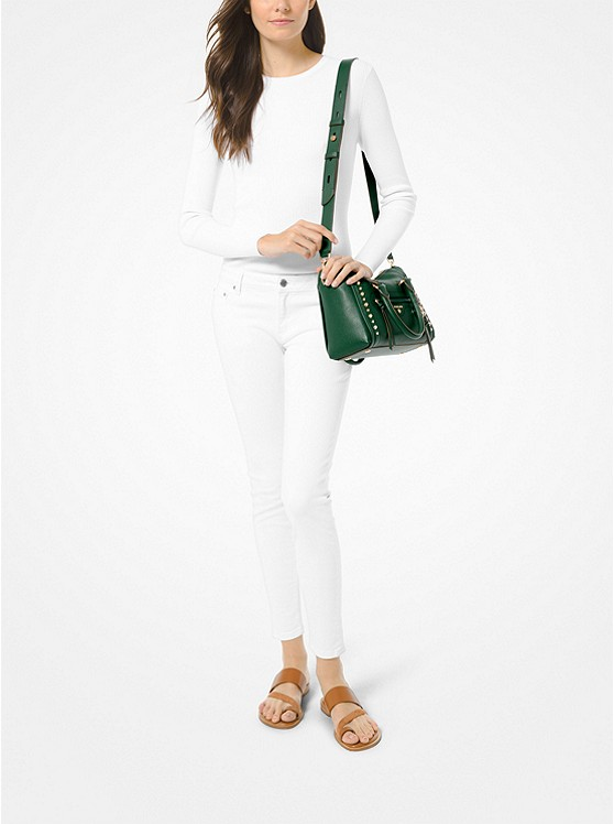 Túi xách Michael Korsmini đeo chéo màu xanh lá 30S0GCCS1T-Carine Small Studded Pebbled Leather Satchel